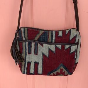 Wool & Leather Tapestry Woven Purse